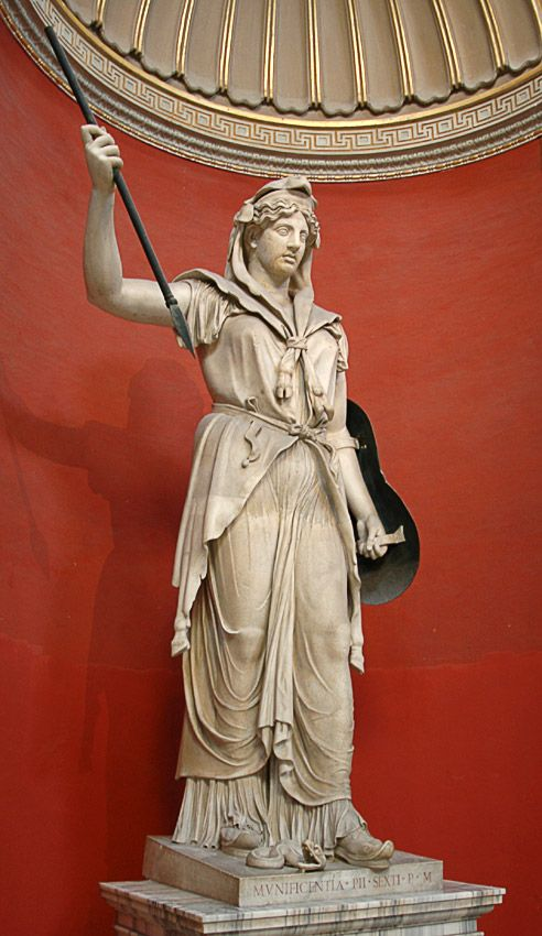 Juno (Hera) Sospita, Roman statue (marble), c. 2nd century AD, (Musei Vaticani, Vatican City).