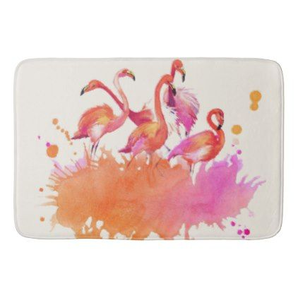 Coastal Pink Flamingos Watercolor Beach Bath Mat - black and white gifts unique special b&w style