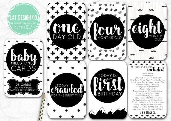 Monochrome  Baby Milestone Cards by LandTDesignCo on Etsy