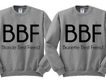 Grey Crewneck Blonde Best Friend Brunette Best Friend Sweatshirt Sweater Jumper Pullover