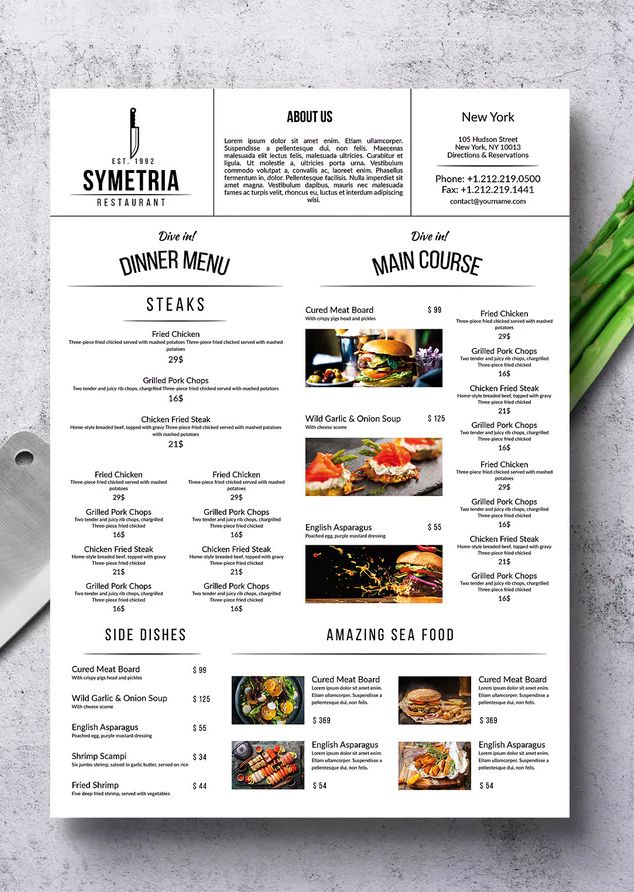 Simple Style A3 Poster Menu Template Psd A3 With Bleed Area And Safety Zone 300 Dpi High Resolution Menu Design Layout Restaurant Menu Design Menu Design