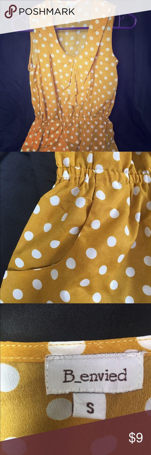 Mustard yellow polka dog short dress Business casual mustard yellow short dress with pockets Dresses Mini