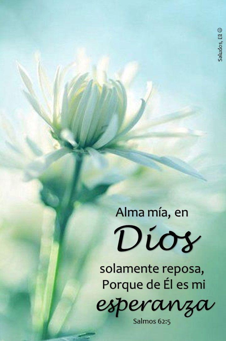 Alma mía, en Dios solamente reposa,  Porque de Él es mi esperanzaSalmos 62:5