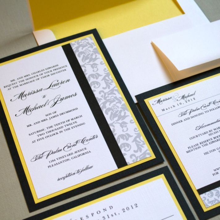 Classic damask wedding invitations black white yellow | Wedding Ceremony Ideas | Pinterest ...