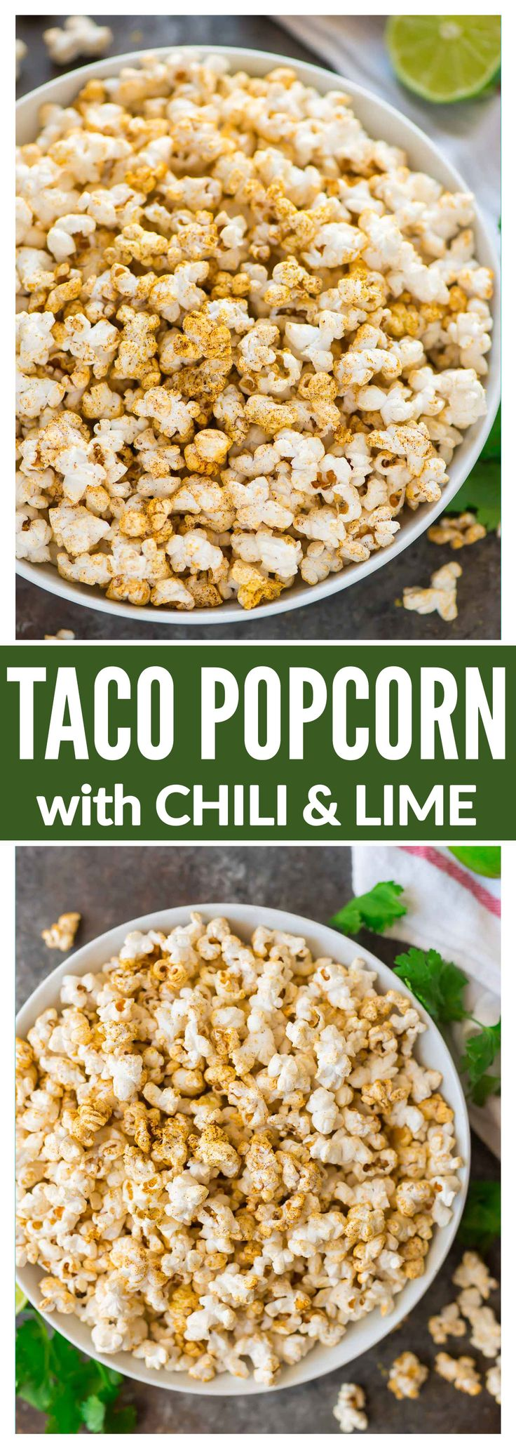 "Easy ""Cheesy"" Taco Popcorn. Chili powder, fresh lime zest, and nutritional yeast make a delicious, healthy, dairy free party appetizer or office snack. Perfect for movie nights! #popcorn #tacopopcorn #dairyfree #healthysnack #appetizer"