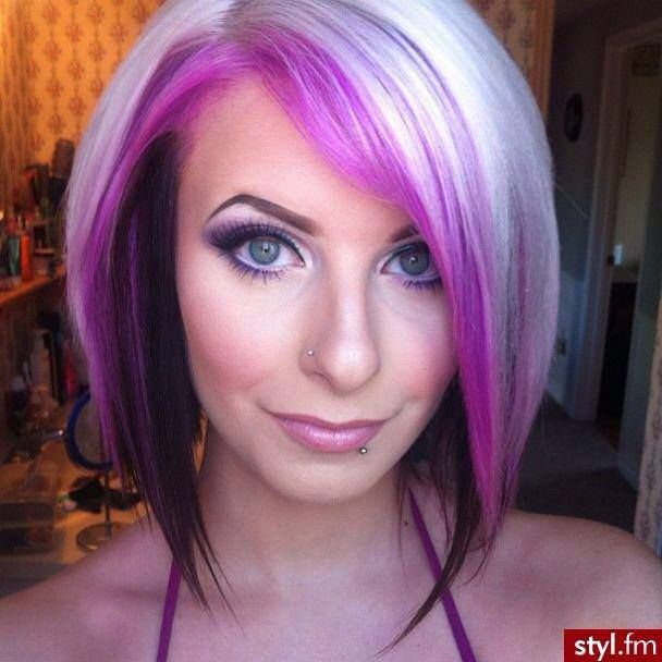 love this! Blonde, pink and black diagonal forward haircut and style