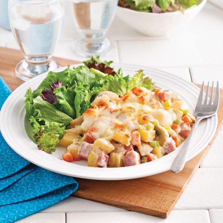 Cassolettes de jambon et légumes gratinés - Soupers de semaine - Recettes 5-15 - Recettes express 5/15 - Pratico Pratique