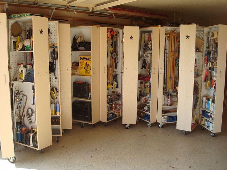 Two car garage storage: Cabinets on casters.Garages Organic, Storage Area, Storage Cabinets, Tools Scattered, Garage Storage, Diy, Cabinets Open, Storage Ideas, Garages Storage