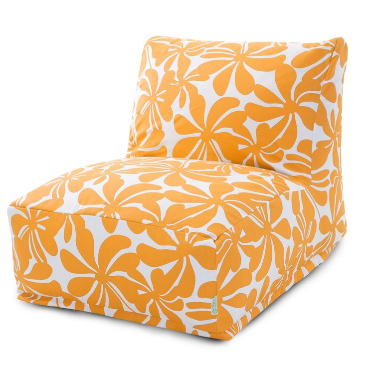 Majestic Home Goods Yellow Plantation Outdoor Bean Bag Chair Lounger - 85907220320