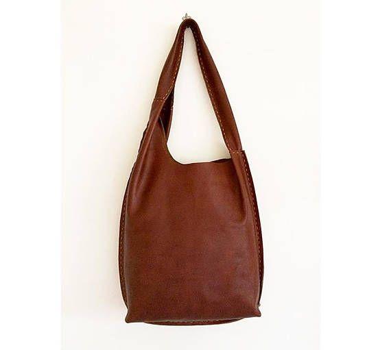 borse fatte a mano in pelle marrone cognac borsa sacca a