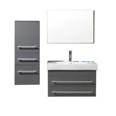 Images On Virtu USA Antonio in Single Basin Vanity in Grey with Ceramic Vanity Top in White with White Basin and Mirror Floating Bathroom VanitiesBathroom