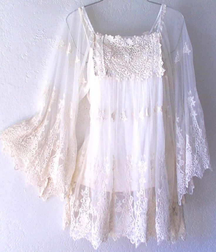 Ivory Crochet Lace Vintage Peasant Blouse Boho Shirt Top: