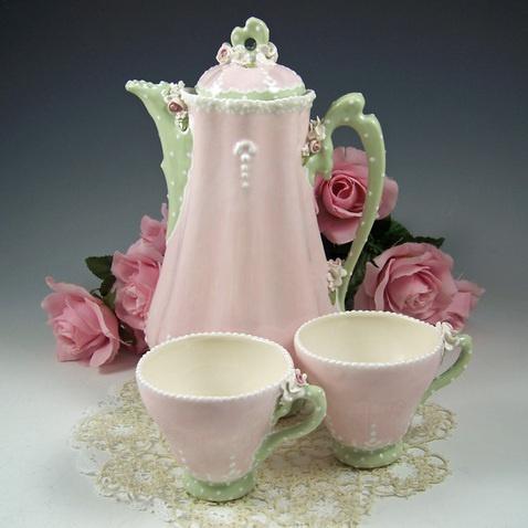 Pink & Green Cocoa Pot Set