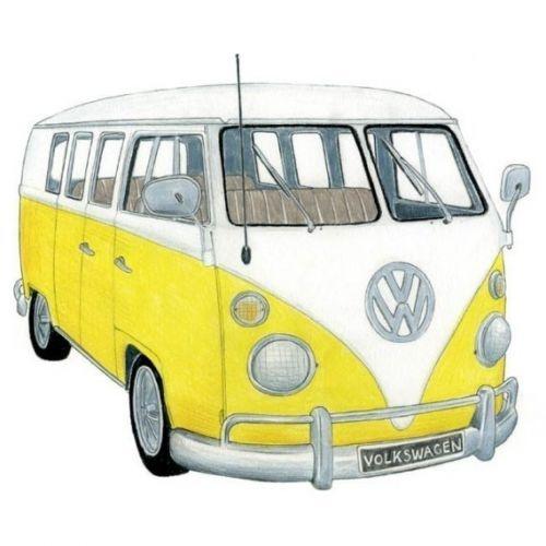 Yellow Volkswagen Camper bus art