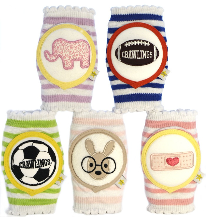These are so cute. Crawlings.com for those babies learning to crawl...baby knee pads. Maybe if I would have had these, Morgan would have liked to crawl more! They look like baby volleyball knee pads!