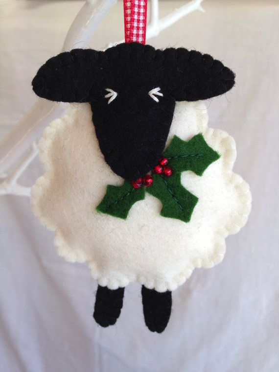 Christmas Decorations  Wool Felt Sheep  Holly  door MichelleGood
