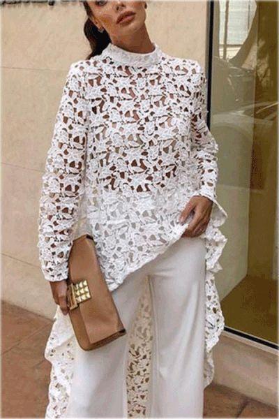Fashion Sexy Hollow Lace Long Sleeve Irregular Top