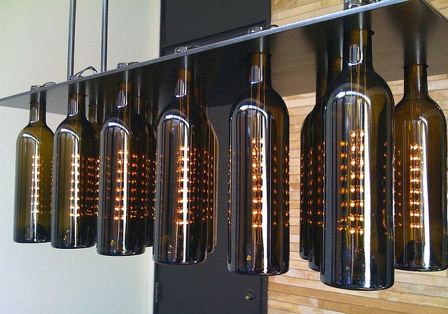 Wine bottle chandelier by niallkennedy, via Flickr