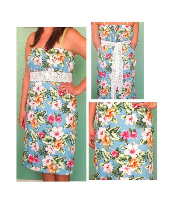 CLEARANCE SALE   Strapless Hawaiin Dress with Crochet tie