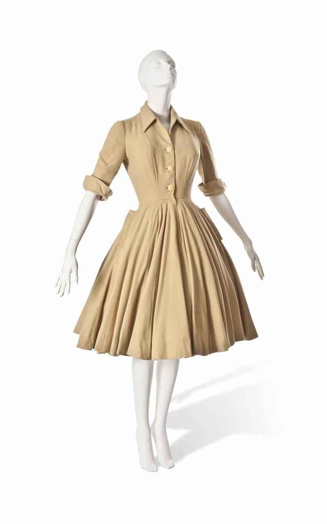 A CHRISTIAN DIOR MUSTARD WOOL DAY DRESS
