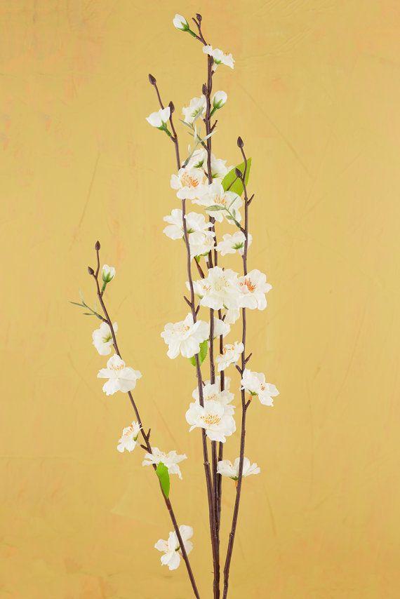 """Peach Blossom Stem Artificial 37"""" White"""
