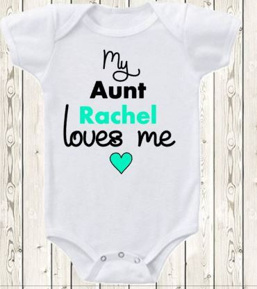Personalized Aunt Onesie My aunt loves me/  Gift for niece or nephew/ pregnancy announcement idea for aunt/ Custom onesie / baby gift by The1stYearBaby on Etsy