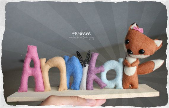 CUSTOM NAME FOX custom kid's decor personalized baby by mukibaba, $44.00