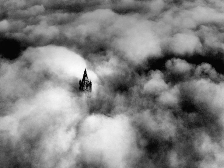 Woolworth tower in the clouds, New York City, ca.1928 [800 × 600]