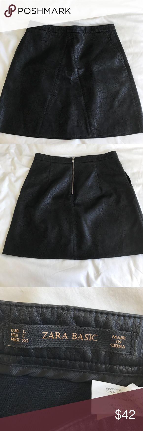 Zara PU Future Leather A Line Skirt size Large Zara Future Leather A Line Skirt size Large and with cute pockets! never worn. Zara Skirts Mini