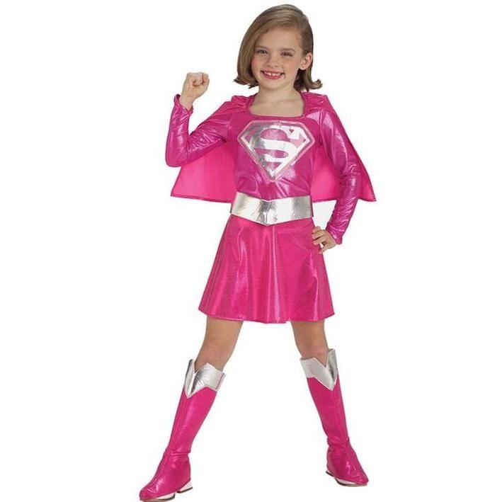 Disfraz de Supergirl rosa para niña