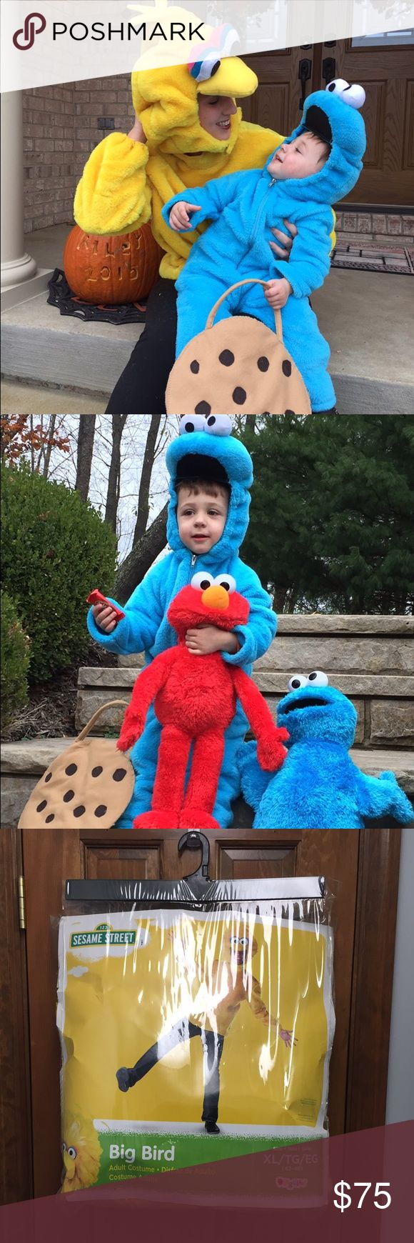 Halloween duo!  As seen on @poshmark Instagram Mommy (or daddy) and me Halloween costumes.  Cookie Monster costume is size 3-4t and adult costume is size XL.  *not a generous XL.  Worn once- these were such a hit!!  Smoke free/pet free posher.  Cookie bag & cute toddler not included, at least not yet so far today lol Sesame Street Costumes Halloween