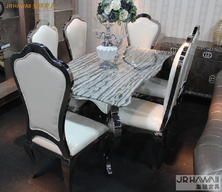 Stainless steel meja Makan dengan ruang makan set dengan 6 kursi dengan meja marmer top dan stainless kulit kursi