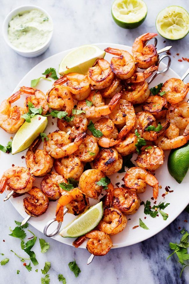 Grilled spicy lime shrimp with avocado cilantro sauce