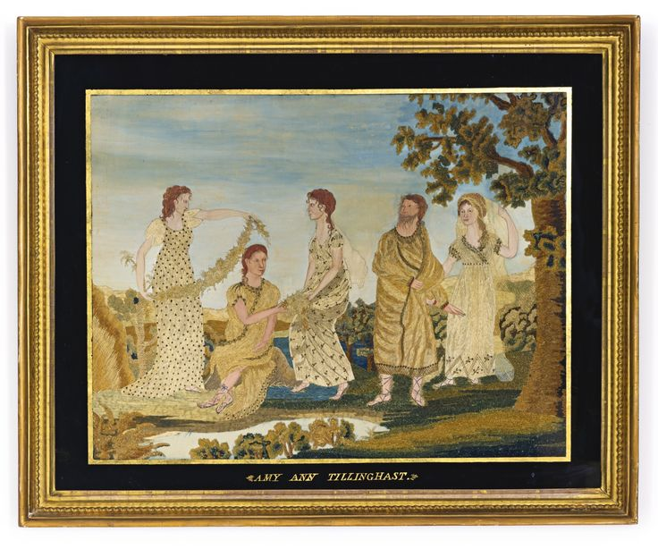 RARE SILK EMBROIDERED PICTURE: THE OLD TESTAMENT STORY OF RACHEL, JACOB AND LEAH, AMY ANN TILLINGHAST, ATTRIBUTED TO THE MARY BALCH SCHOOL, PROVIDENCE, RHODE ISLAND, CIRCA 1810 -  painted and embroidered in silk threads and chenille, embellished with silver beads and threads. Retains label: Peter Grinnell and Son, Main-Street Providence, Opposite the Providence Bank.  The label is inscribed, Amy Ann Tillinghast and $12.50, the cost for the reverse-painted glass and frame.  19 1/4 by 24 in.