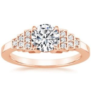 This stunning rose gold engagement ring was inspired by the chic geometry and glamour of the Art Deco era.
