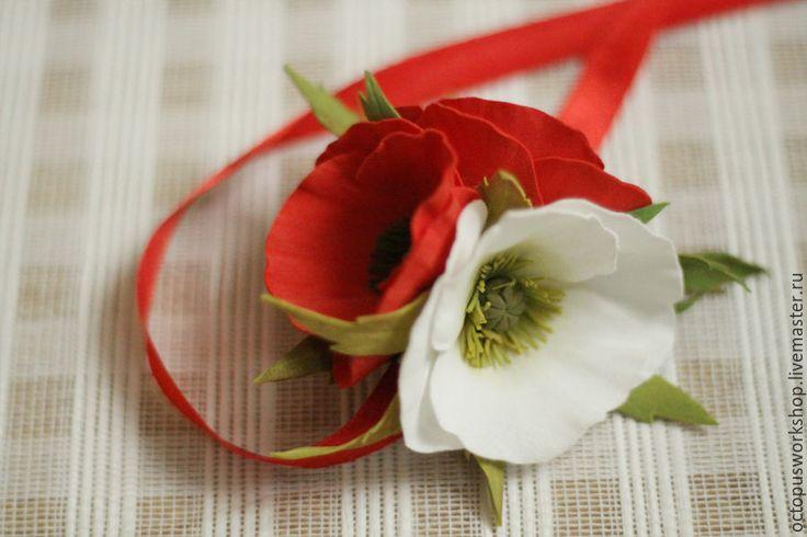 Купить Повязка на голову сбелыми и красными маками - ярко-красный, атласная лента, повязка на голову