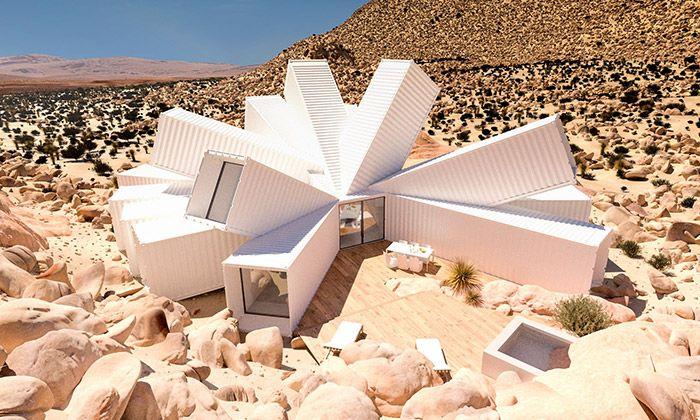 V kalifornské poušti vyrostla rezidence z kontejnerů