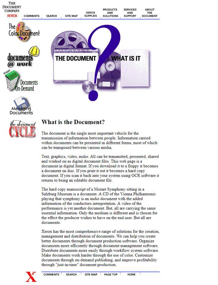 Xerox website in 1996