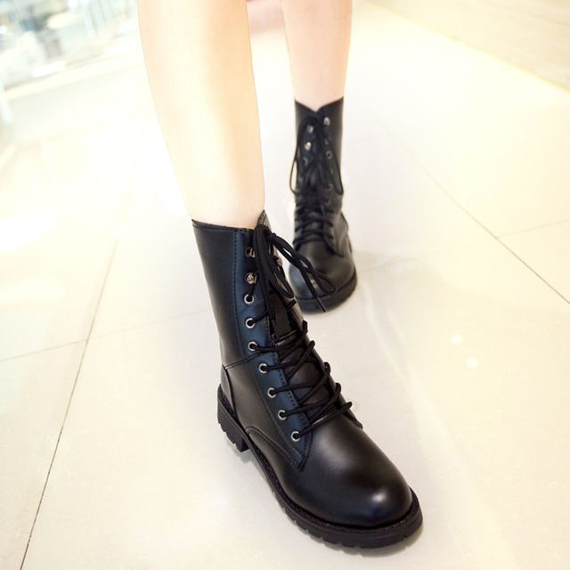 Special offer Fashion Motorcycle Women Boots,Mid-Calf Ladies Lace-Up Riding Shoes,Breathable Rock Style Students Footwear,New Design Rivets just only $20.93 with free shipping worldwide  #womenshoes Plese click on picture to see our special price for you