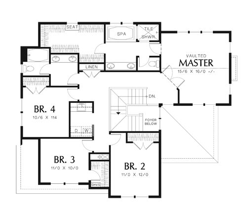 Second Floor Plan Image Of Gaylord House Plan Ok Upstairs