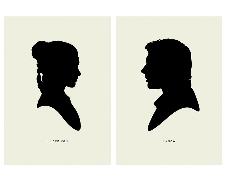 I LOVE YOU  /  I KNOW - Star Wars Inspired, Princess Leia, Han Solo, Silhouette, 5 x 7 Art Prints, Modern Poster, Retro Home