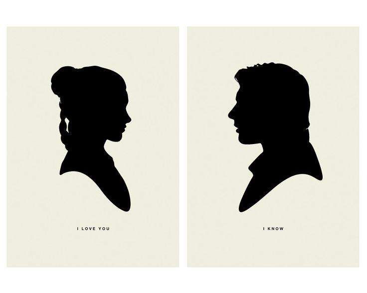 I LOVE YOU  /  I KNOW - Star Wars, Princess Leia, Han Solo, Silhouette, The Empire Strikes Back, 5 x 7 Art Prints, Modern Poster, Retro Home