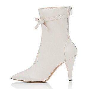 #FSJシューズ#♪ ホワイト ファンションブーツ  白い 靴 冬靴 リボン付き 尖ったつま先のブーツ 美脚 ♪ 素敵なシューズ
