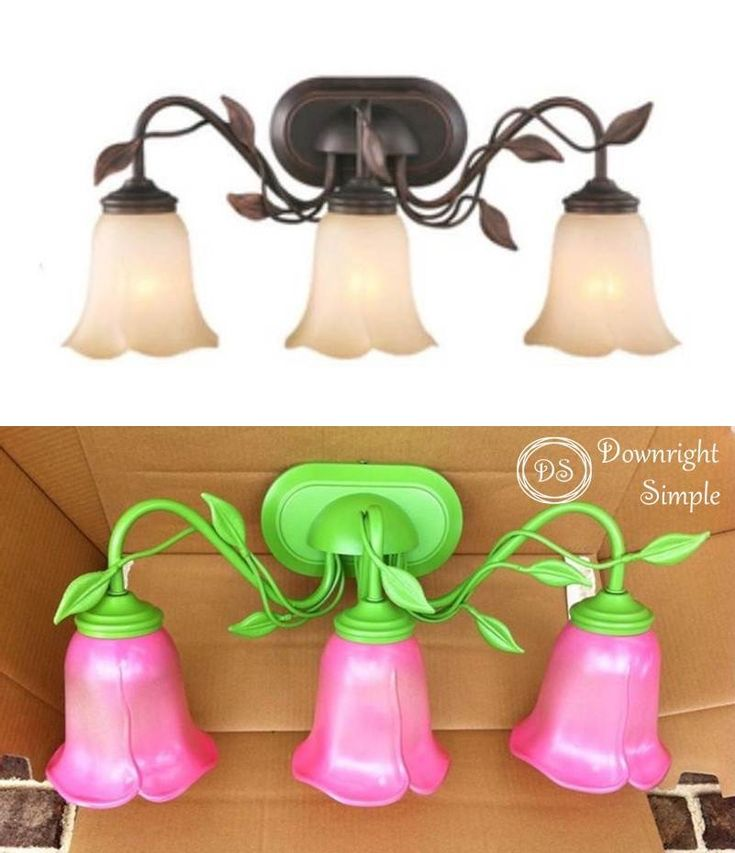 Downright Simple: Kids Bath - Girl Style.  Spray painted light fixtures... oh so girly!