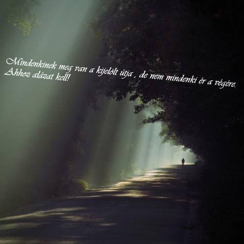 Lonely road: Mindenkinek meg van a kijelölt útja, de nem mindenki ér a végére. Ahhoz alázat kell.