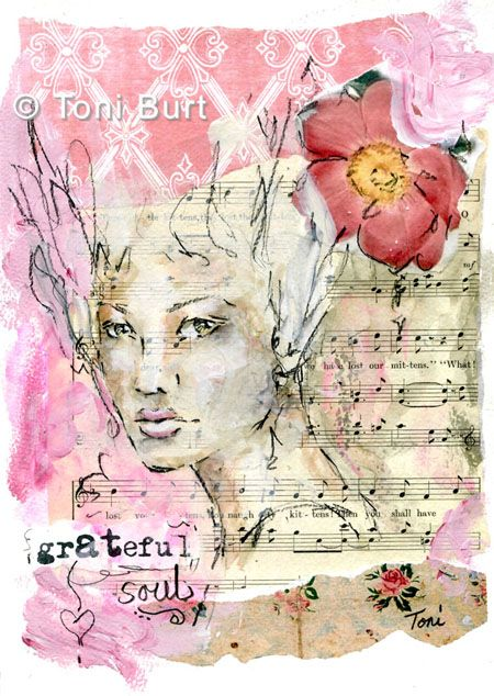 """""""grateful soul""""  mixed media collage, graphite pencil and watersoluble markers"""
