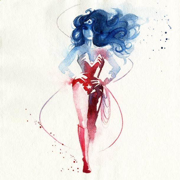 sélection des créations de l'illustratrice française Blule, basée en Australie, qui a réalisé de superbes aquarelles en hommage aux super héros, de Superman à Captain America en passant par Spiderman, Hulk ou Wolverine