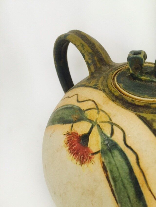 Flowering gum teapot. Gumnut lid. OOAK by MrsJoyful on Etsy https://www.etsy.com/listing/244150530/flowering-gum-teapot-gumnut-lid-ooak