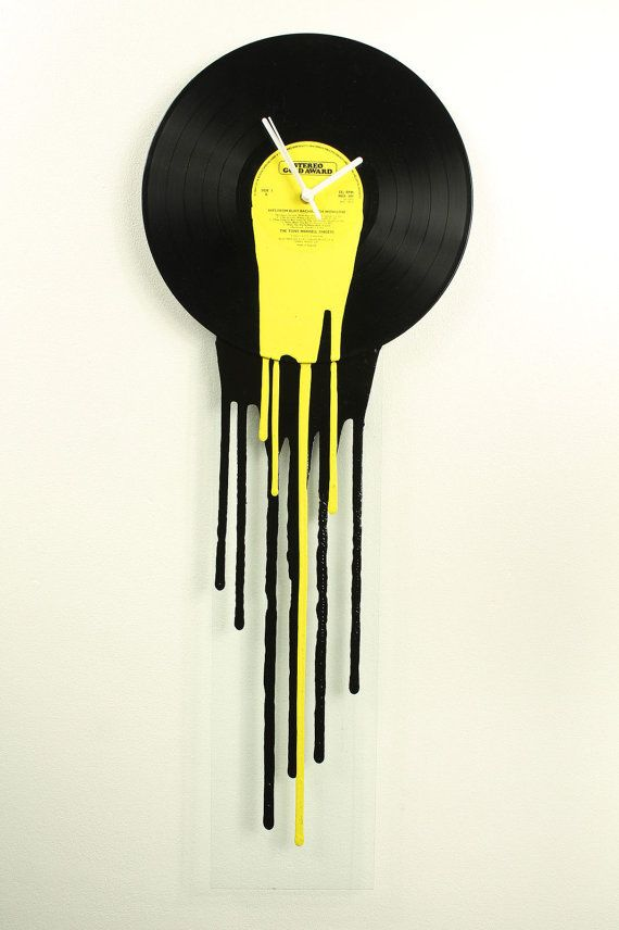 (Yellow Drip Clock on glass ) - This is one of the many vinyl clocks that i make. Its my own unique design and Im the only person making these.