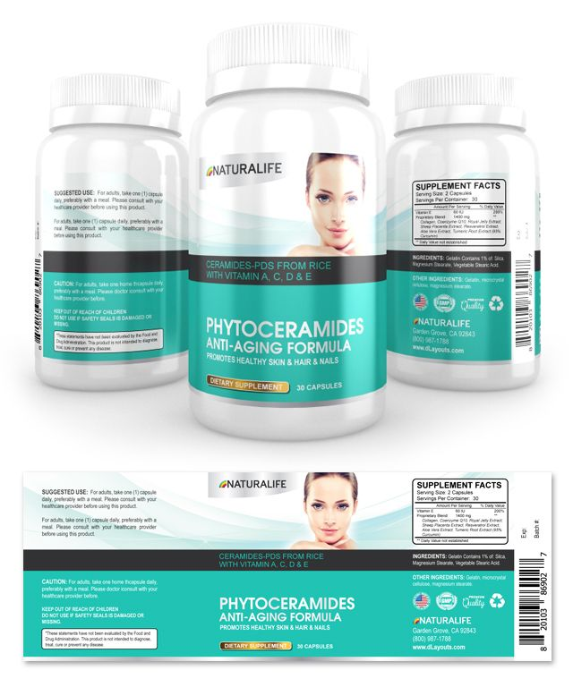 Phytoceramides Anti-aging Supplement Label Template http://www.dlayouts.com/template/866/phytoceramides-anti-aging-formula-supplement-label-template